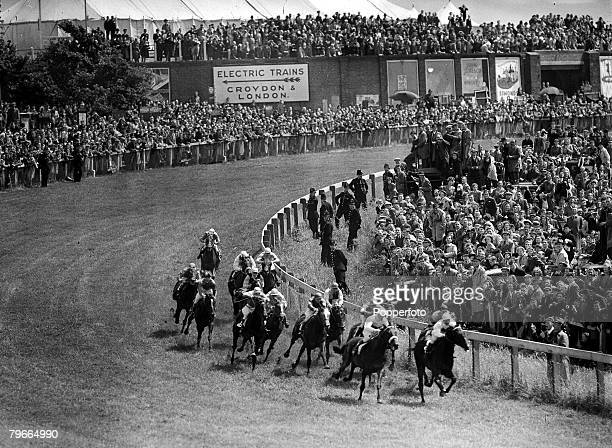 Horse Racing Surrey England 7th June French outsider Pearl Diver manages to take the lead at tattenham Corner on the way to winning the Epsom Derby...