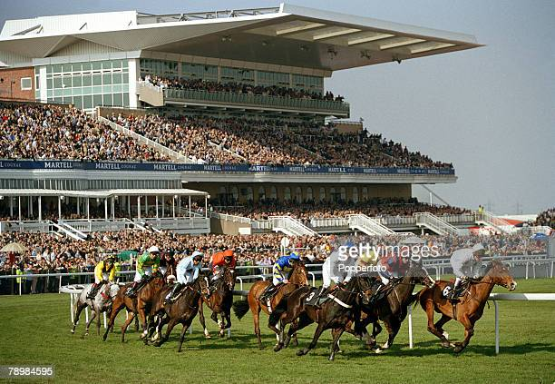Horse Racing, The 2003 Martell Grand National meeting, Aintree, Liverpool, England, 5th April 2003, General view of the Grandstand with horse racing...