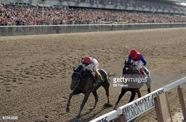 Horse Racing The Belmont Stakes Edgar Prado in action winning race aboard Sarava vs Medaglia d'Oro Elmont NY 6/8/2002