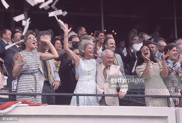 Horse Racing The Belmont Stakes Secretariat owner Helen Chenery Tweedy and trainer Lucien Laurin victorious at Belmont Park Elmont NY 6/9/1973