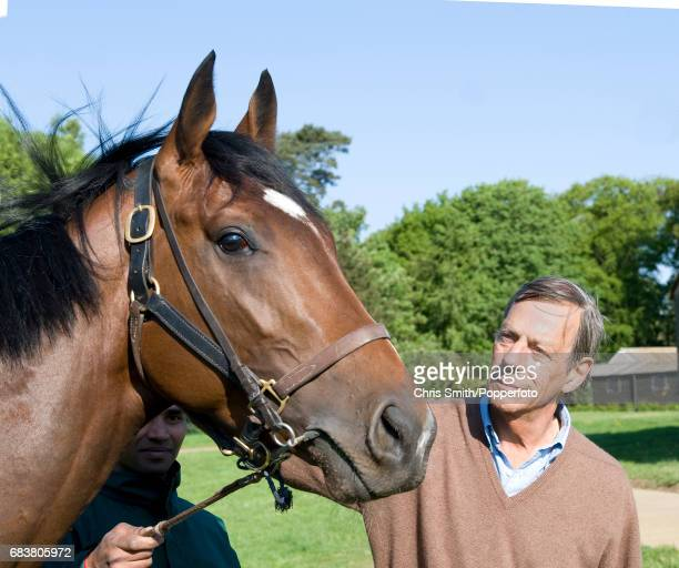 Horse racing trainer Henry Cecil with Frankel at his stableyard in Newmarket 2nd May 2011