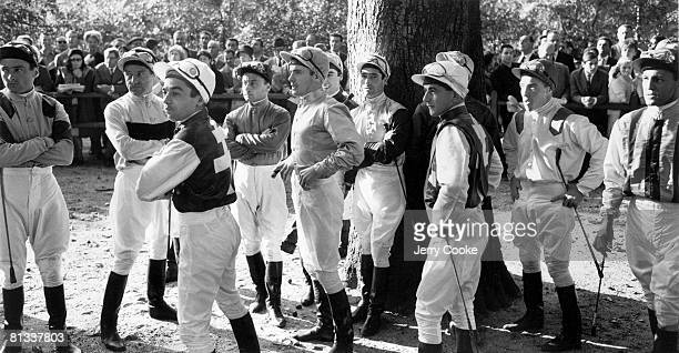 Horse Racing: View of miscellaneous jockeys at Longchamp Racecourse, Paris, FRA 1/1/1960--
