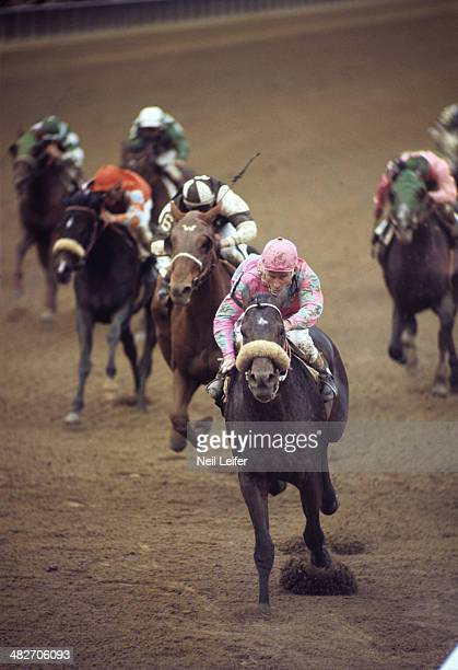 Wood Memorial Stakes Lucien Laurin in action aboard Amberoid during race at Aqueduct Racetrack Jamaica NY CREDIT Neil Leifer