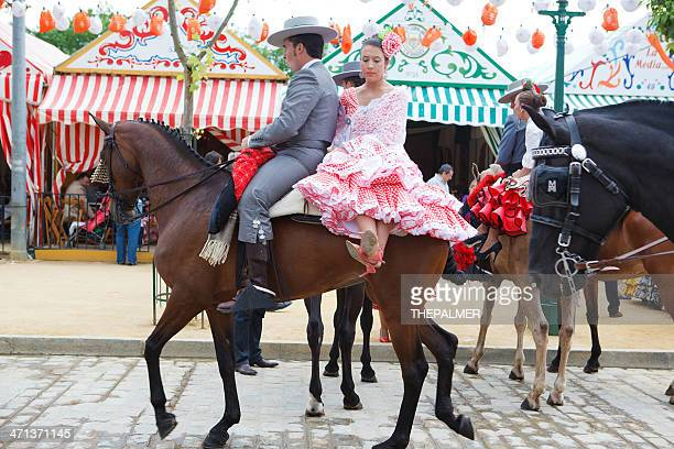 horse rider and woman in flamenco dress