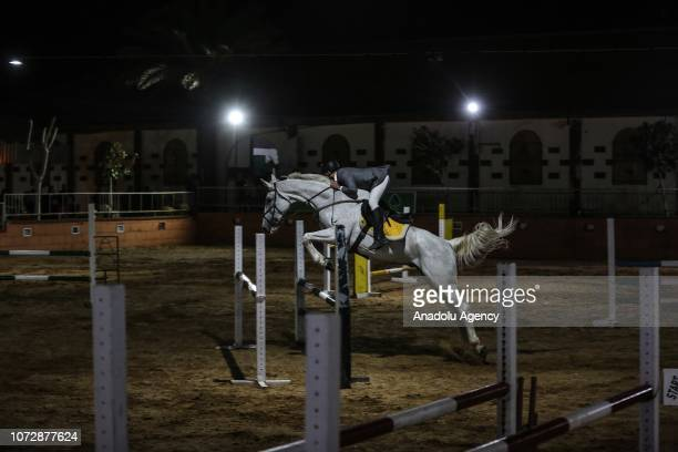 Horse rider competes in the Equestrian Championship in Gaza City, Gaza on December 13, 2018.