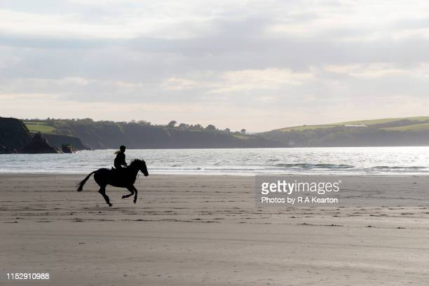 Horse rider on a beach in Pembrokeshire, Wales