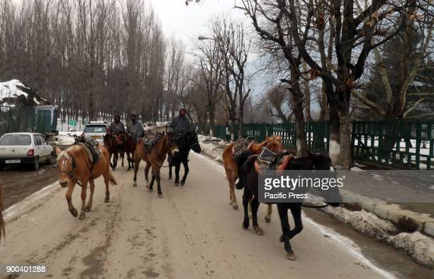 A horse rider passing through a road post snowfall in Pahalgam the famed tourist resort in south Kashmir district of Anantnag 100 Km south of...