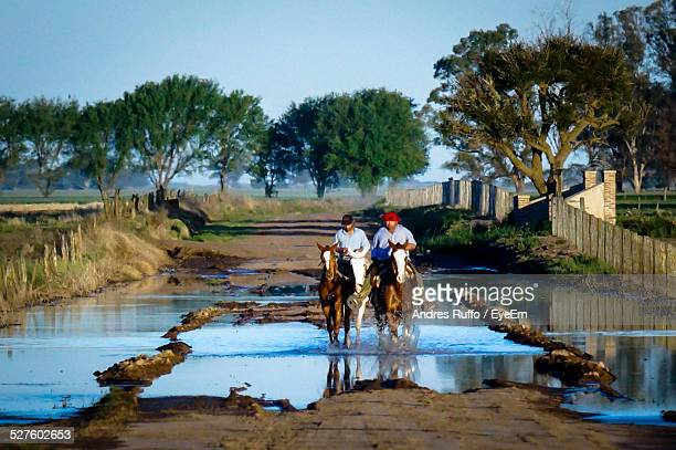 horse riders crossing water on dirt road - andres ruffo stock photos and pictures