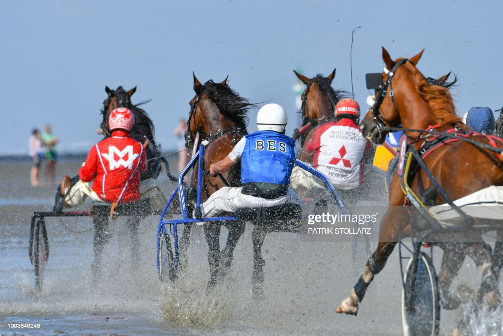 Horse riders in sulkies compete in a harness racing event during the