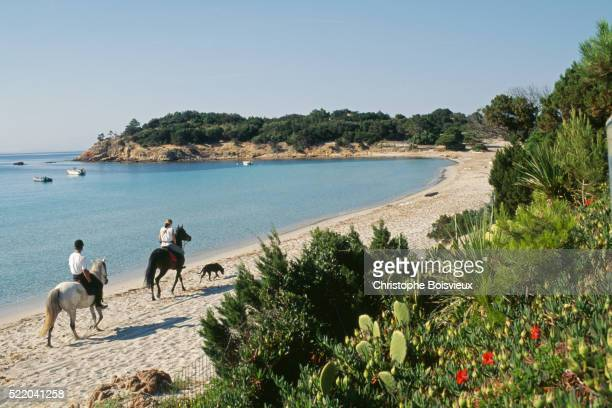 Horse Riders on Palombaggia Beach on Corsica