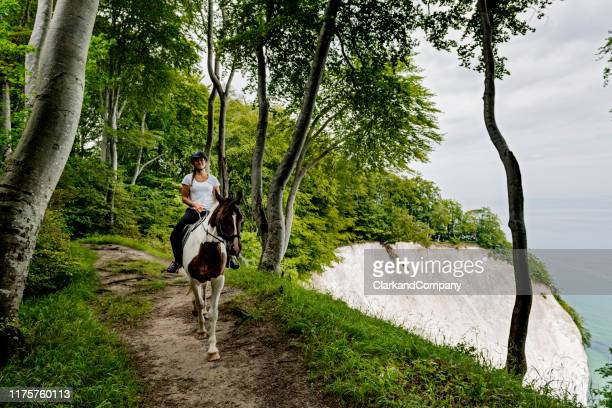 horse riding at møns klint in denmark - headwear stock pictures, royalty-free photos & images
