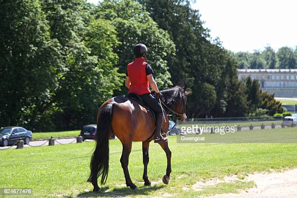 horse riding in chantilly - chantilly picardy stock pictures, royalty-free photos & images