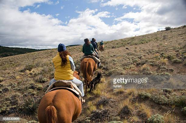 horse riding in patagonia, bariloche, argentina - bariloche stock pictures, royalty-free photos & images