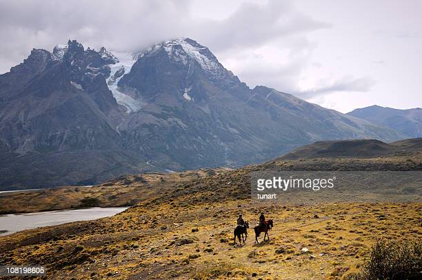 horse riding in torres del paine national park, patagonia, chile - chile stock pictures, royalty-free photos & images