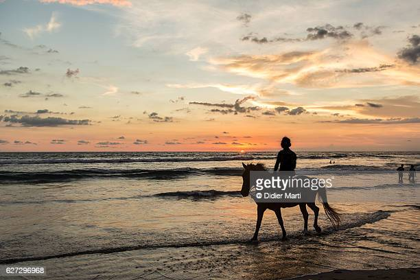 Horse riding on the beach of Kuta at sunset in Seminyak, Bali, Indonesia