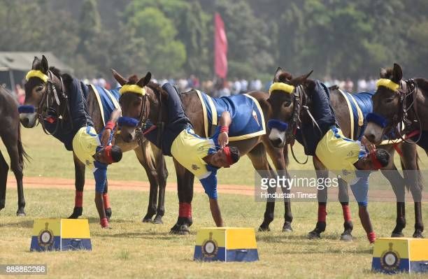 Horse riding tricks being displayed during the celebration of 257th Corps Day of Army Service Corps at Agram ground on December 9 2017 in Bengaluru...