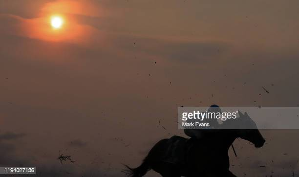 Horse runs in the last race of the day under a hazy sun from the ongoing bushfires during Sydney Racing at Royal Randwick Racecourse on December 14,...