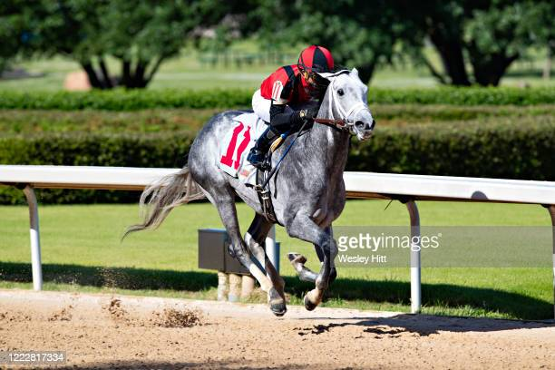 Horse Rushie leads down the stretch during the 10th race at Oaklawn Racing Casino Resort on Derby Day during the Covid19 Pandemic on May 2 2020 in...