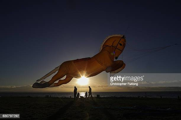 A horse shaped kite named Goldey takes to the sky as enthusiasts from the Northern Kite Group take advantage of the good weather to fly their kites...