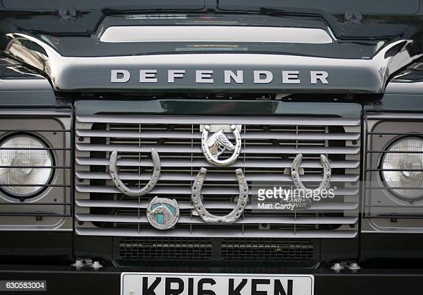 Horse shoes and motifs adorn a Land Rover Defender during the 2016 Coral Welsh Grand National at Chepstow Racecourse on December 27 2016 in Chepstow...