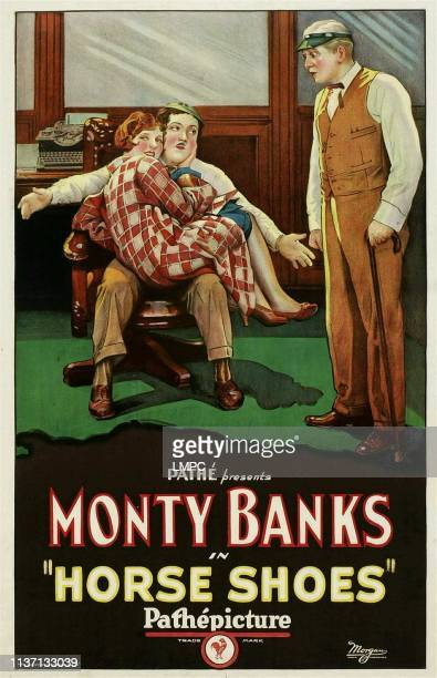 Horse Shoes poster woman curled up on lap Jean Arthur man with arms outstretched seated Monty Banks 1927