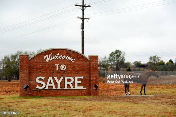 a horse statue at sayre, oklahoma, usa - oklahoma welcome sign stock pictures, royalty-free photos & images