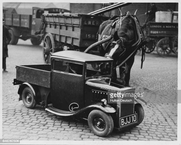 A horse sticks it's nose through the window of the smallest lorry in the world The Rytecraft lorry has a one horsepower engine and can carry up to...
