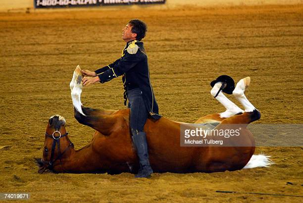 """Horse stuntman Tommie Turvey performs with horse """"Pokerjoe"""" at the 17th Annual William Shatner's Wells Fargo Hollywood Charity Horse Show, held at..."""