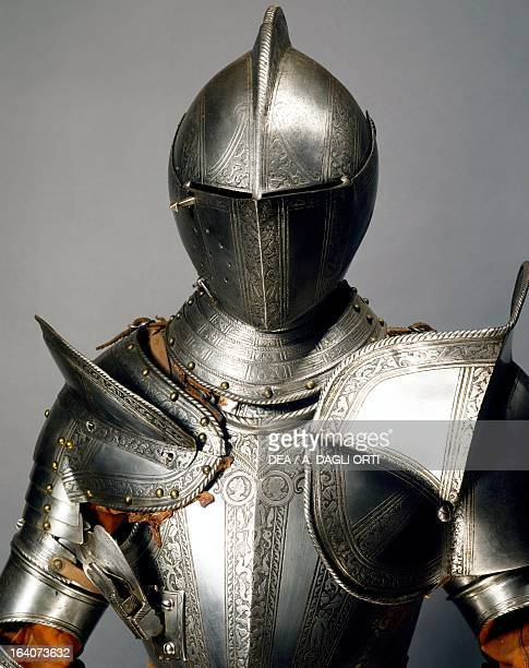 Horse tournament armour in steel decorated with engravings made in England ca 1560 Italy 16th century Florence Museo Stibbert