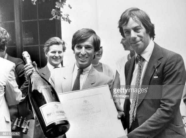 Horse trainer Henry Cecil receiving the Piper Champagne Trainer of the Month awards for May and June at the Newmarket races following the Piper...