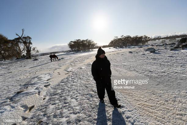 Horse trainer Nikki Alberts arrives for a day of work with newly rehomed Brumbies in blizzard conditions on August 22 2020 in Adaminaby Australia...