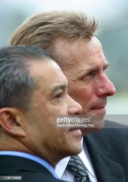 Horse trainers John Size and Derek Cruz at Sha Tin Racecourse 18 May 2003