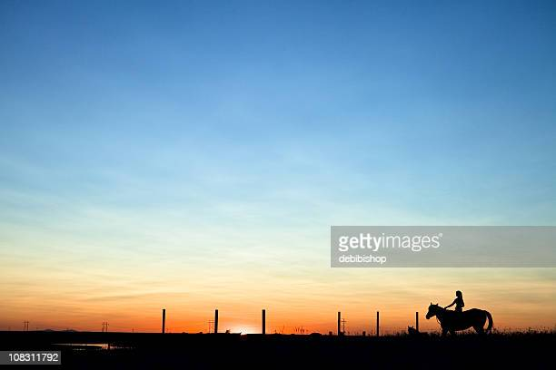 Horse & Woman Riding Into The Sunset