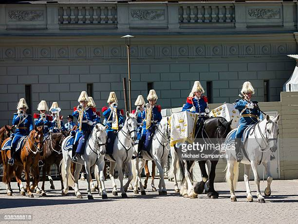 Horseback mounted royal band participates in a ceremony celebrating Sweden's national day at the Royal Palace on June 6 2015 in Stockholm Sweden