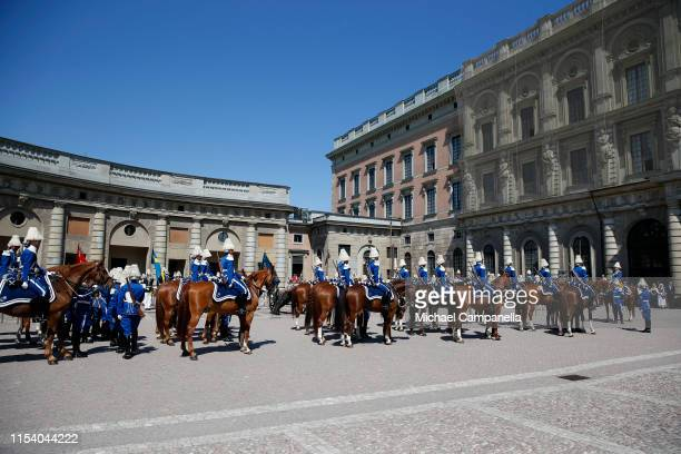 Horseback mounted Royal guards attend the celebrations of Sweden's National Day at the Royal Palace on June 06 2019 in Stockholm Sweden