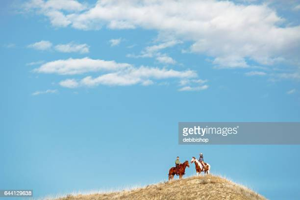 horseback riders and blue sky - istock images stock pictures, royalty-free photos & images