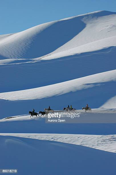 horseback riders on winter dunes - great sand dunes national park stock pictures, royalty-free photos & images