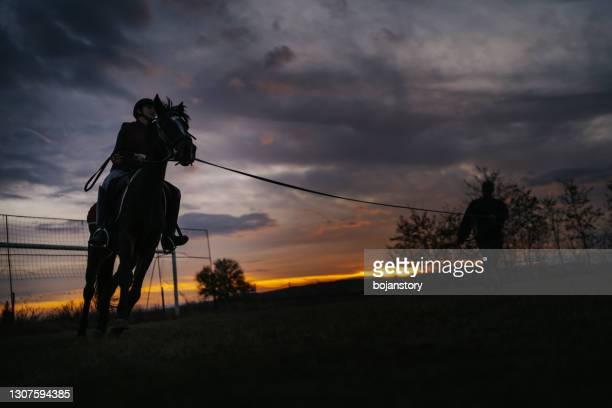 日没時の乗馬 - 動物調教師 ストックフォトと画像