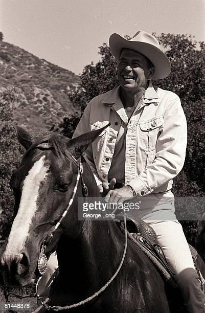 Horseback Riding California Governor Ronald Reagan on Rancheros Visitaderes Trail Ride Santa Barbara CA 5/6/1967