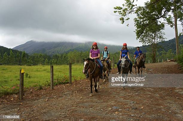 Horseback tour on the grounds of the Arenal Volcano Observatory near La Fortuna Costa Rica