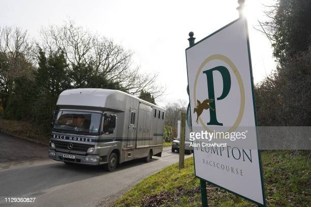 A horsebox arrives with runners due to Equine Influenza there has been no racing for six days at Plumpton Racecourse on February 13 2019 in Plumpton...