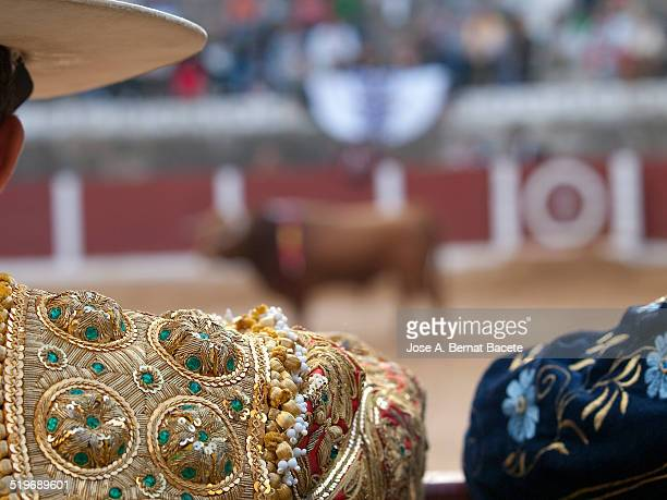 Horsebreaker looking at the bull in a bullring