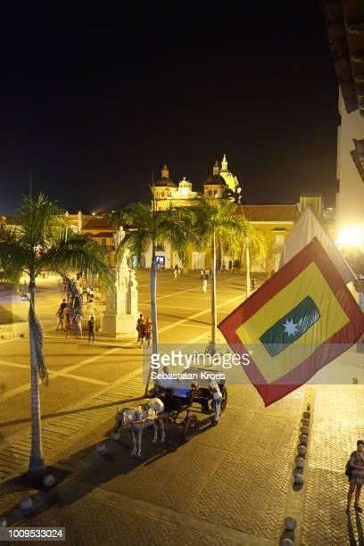 Horsecart at Plaza de la Aduana, Night, Cartagena, Colombia