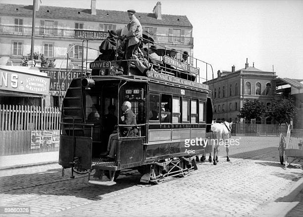 horsedarwn streetcar linking Saint Germain des Pres to Vanves in Paris France c 19001910 gelatinbromide picture