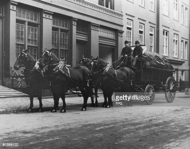 A horsedrawn brewer's dray at 51st Street and Park Avenue New York circa 1925