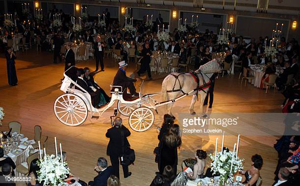 Horse-drawn carriage enters the Grand Ballroom during The 49th Annual Viennese Opera Ball Benefiting The Central Park Conservancy at The Waldorf...