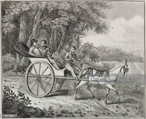 Horsedrawn carriage in Canada North America lithograph from Galleria universale di tutti i popoli del mondo ossia storia dei costumi religioni riti...