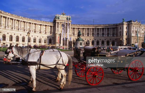Horse-drawn carriage in front of Hofburg, Innere Stadt.