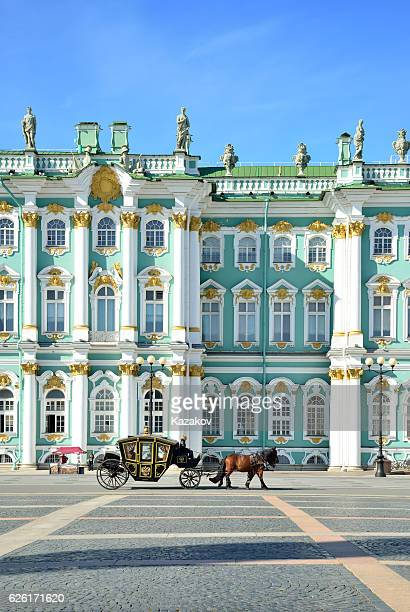 horse-drawn carriage in front of the winter palace - st. petersburg russia stock photos and pictures
