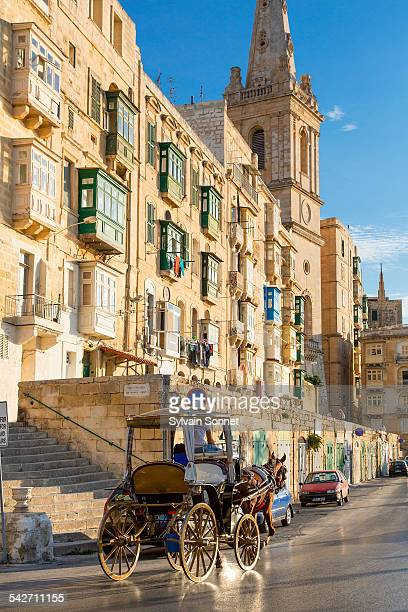 Horse-drawn carriage in Valetta, Malta.